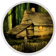 Haunted Shack Round Beach Towel