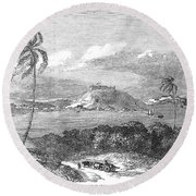 Havana, Cuba, 1851. /na View Of The Harbor And Fort Of Atares. Wood Engraving, English, 1851 Round Beach Towel