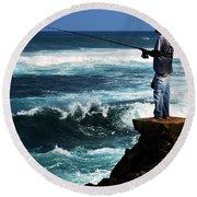 Hawaiian Fisherman Round Beach Towel