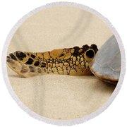 Hawaiian Green Turtle Rear Tail Fin Round Beach Towel