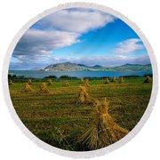 Hay Bales In A Field, Ireland Round Beach Towel