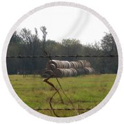 Hay Lined Up Round Beach Towel