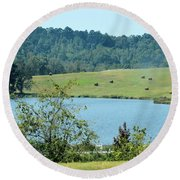 Hay Rolls On A Hill Round Beach Towel