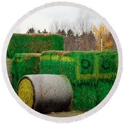 Hay Tractor Round Beach Towel