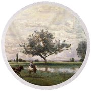 Haycart Beside A River  Round Beach Towel