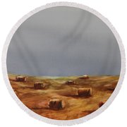 Hayfield Round Beach Towel by Ruth Kamenev