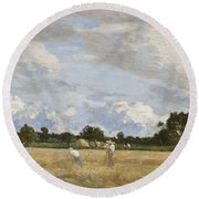 Haymaking Round Beach Towel by Eugene Louis Boudin