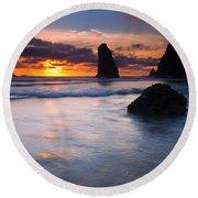 Haystack Sunset Round Beach Towel