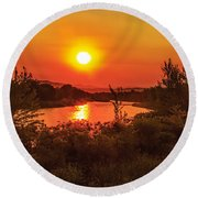 Hazy Sunrise Round Beach Towel