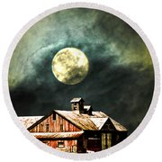 Hdr Moon And Barn Round Beach Towel