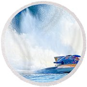 Hdr Pano Thunder On The Lake Round Beach Towel