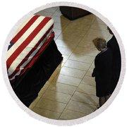 He Casket Of Former President Gerald R Round Beach Towel