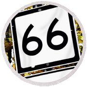 Heading West On Route 66 Round Beach Towel
