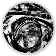 Headlights In The Woods Round Beach Towel