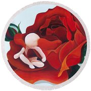 Healing Painting Baby Sitting In A Rose Round Beach Towel