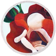 Healing Painting Baby Sitting In A Rose Detail Round Beach Towel