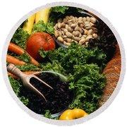 Healthy Foods Round Beach Towel