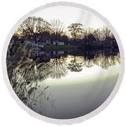 Hearns Pond Reflection Round Beach Towel