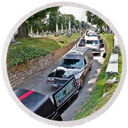 Hearses At Laurel Hill Cemetery Round Beach Towel