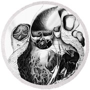 Heart Anatomy, Carl Von Rokitansky, 1875 Round Beach Towel