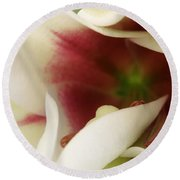 Heart Of A Lily Round Beach Towel