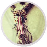 Heart Of Roots  Round Beach Towel