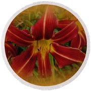 Heart Of The Lily Round Beach Towel