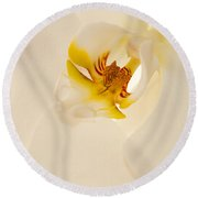 Heart Of The Orchid Round Beach Towel