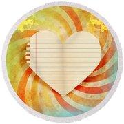 Heart Paper Retro Design Round Beach Towel