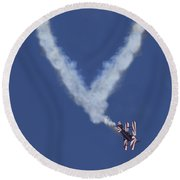 Heart Shape Smoke And Plane Round Beach Towel