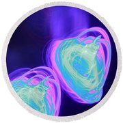 Heart Shaped Glowing Orbs Round Beach Towel