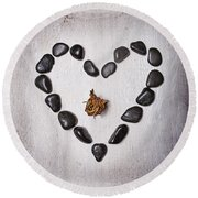 Heart With Rose Round Beach Towel by Joana Kruse