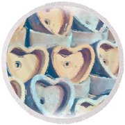 Hearts A Plenty Round Beach Towel