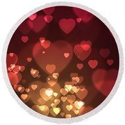 Hearts Background Round Beach Towel