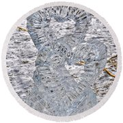 Hearts Cold As Ice Round Beach Towel