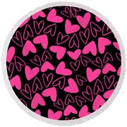 Hearts Round Beach Towel