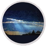 Heaven Opening To Let Out The Sun Painterly Style Round Beach Towel