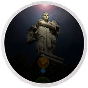 Heavenly Statue Round Beach Towel