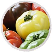 Heirloom Tomatoes Round Beach Towel