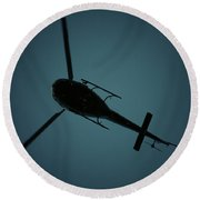 Helicopter Silhouette Round Beach Towel