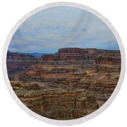 Helicopter View Of The Grand Canyon Round Beach Towel