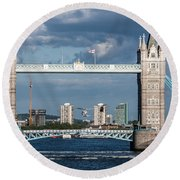 Helicopters And Tower Bridge Round Beach Towel