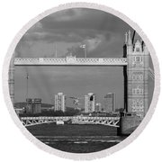 Helicopters Flying Through Tower Bridge Round Beach Towel