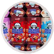Hello Panda Biscuits Round Beach Towel