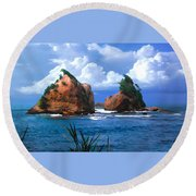 Hells Gate Rocks Near Calibishie Dominica Round Beach Towel