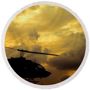 Helocopter In Clouds Round Beach Towel