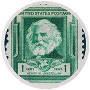 Henry W Longfellow Postage Stamp Round Beach Towel