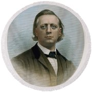 Henry Ward Beecher (1813-1887). American Clergyman. At Age 50: Steel Engraving, 19th Century Round Beach Towel