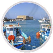 Heraklion - Venetian Fortress - Crete Round Beach Towel