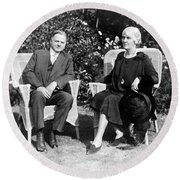 Herbert Hoover Seated With His Wife Round Beach Towel